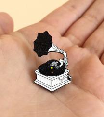 Svemirski gramofon, broš/pin - NOVO