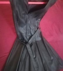 crna kozna haljina L-40/42 konfekcijski
