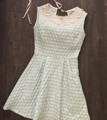 Pastelno plava polka dot haljina