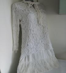 Bela cipkana dvoslojna haljina M