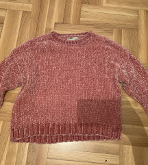 Roze plišani džemper
