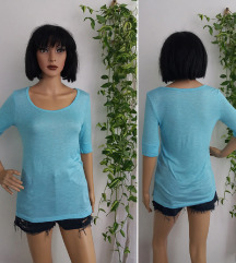 Bonprix tirkizna majica tunika viskoza lan