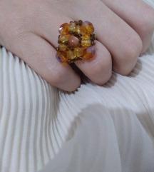 Prsten - smeđi swarovski kristali