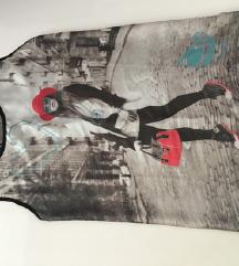Moderna majica sa printom i cipkom