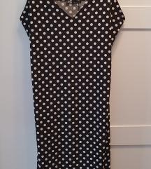 Crna sa belim tufnama Zara leprsava haljina midi