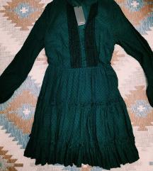 Tamnozelena polka dot haljina Reserved