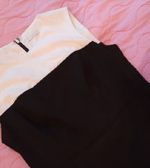 Crno bela haljina na preklop