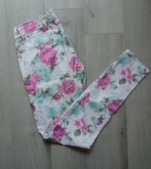 Floral print mid rise skinny pantalone 27/M