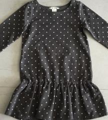 H&M siva haljinica sa roze tufnicama-110/116