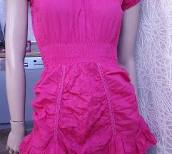 Italijanska ciklama haljina pamucno platno vez