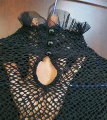 Crna mrežasta bluzica sa puf rukavima