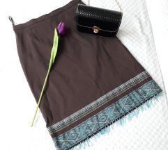 DANAS 499 Braon suknja sa resama /perlicma ✿✿