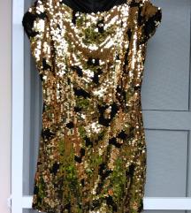 haljina crna sa zlatnim krljustima,nekoriscena
