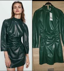 *ZARA* tamno zelena kozna haljina NOVO