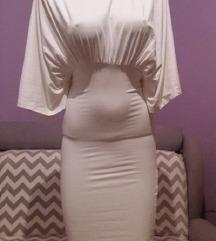 bela haljina sa rol kragnom