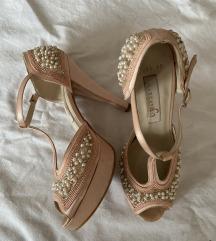Biserne satenske sandale