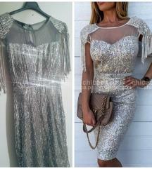 Fantasticna srebrna haljina sa sljokicama,NOVA!