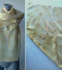 ešarpa svilena krem žuta 130x40 cm