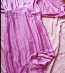 Nova pink saten maksi haljina