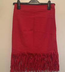 Crvena suknja sa resama