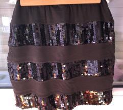 Uska mini suknja crna sa šljokicama