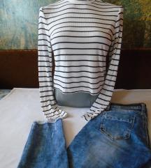 Cepane farmerke + H&M bluza