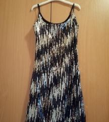 Crno srebrna haljina