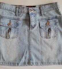 Mini teksas suknja, izbledela, stone wash, S