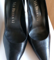 Crne kožne salonke/cipele na štiklu 37