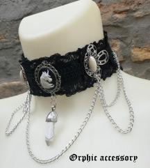 Jednorog, medaljoni i kristal choker ogrlica
