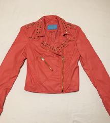 Kožna jakna sa zlatnim nitnama S/M