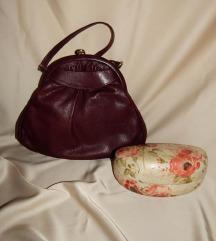 Vintage kožna, bordo torbica