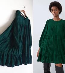 Zara poplin reljefna haljina puf rukavi