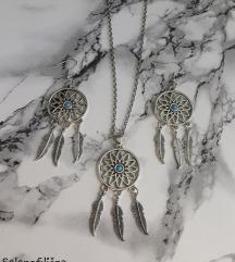 Set ogrlica i minđuše dreamcatcher (hvatač snova)