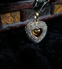 Privezak - duplo srce sa cirkonima