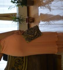 Elegantna roze dugačka haljina