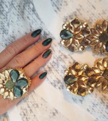 Maslinasto-zeleni set mindjuse i prsten