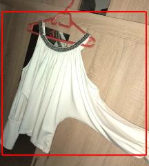 bluza_ bela sa srebrnim nitnama, otvorena ramena