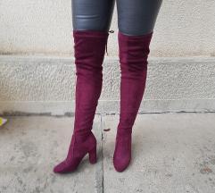 Bordo cizme iznad kolena