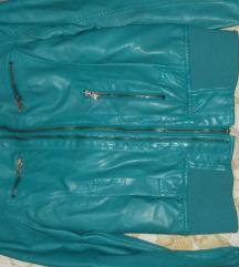 Tirkizna kozna jakna S