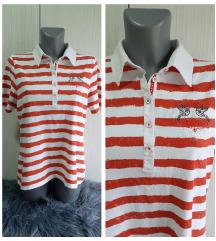 Crveno bela prugasta majica sa kragnom  42