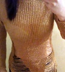 Zlatna džemper tunika-haljina, S/M SADA 1000