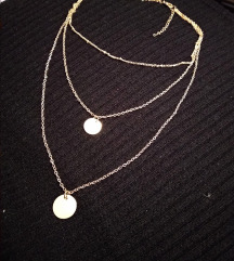 Troslojna zlatna ogrlica
