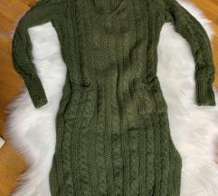 Strikana haljina maslinasto zelena