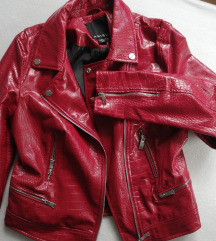 NOVA kožna jakna crvena S, M