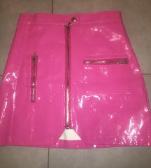Pink lakovana suknja