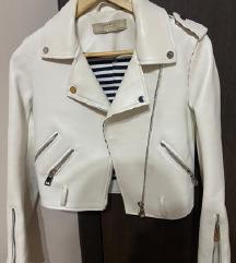 ZARA bela kožna jakna