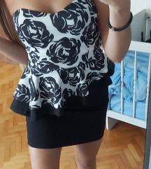 Crno-bela kikiriki haljina