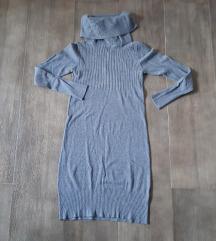 Siva zimska haljina, M, pamuk