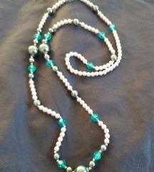 Tirkizna kvalitetna biserna ogrlica, NOVO